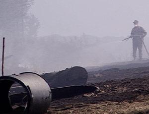 Огромный торфяной пожар под Режом подобрался к лесам (ВИДЕО) / На тушение брошены силы МЧС, лесной авиаохраны и добровольцев