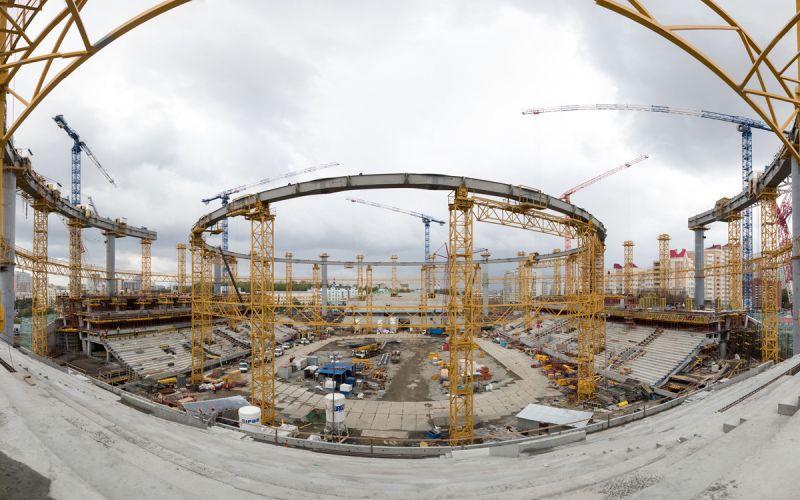 Окончено строительство опорных колонн крыши «Урал Арены»